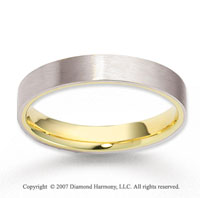 14k Two Tone Gold Fashion Smooth Carved Wedding Band